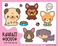 50% OFF SALE, Kawaii dog clipart, cute dog clipart, dog breeds clipart, puppy clipart, pug clipart, boston terrier clipart, Commercial use