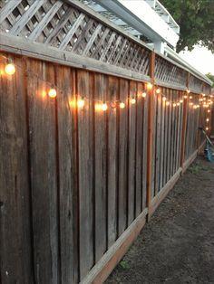 DIY backyard lighting. Hang lights on your fence!