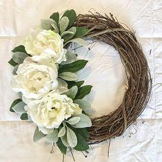 Peony Wreath, Grapevine Wreath, Spring Wreath, Summer Wreath, Front Door Wreath, Farmhouse Wreath, White Wreath, Mother's Day Wreath
