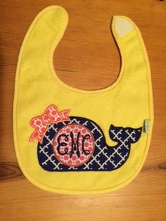 Custom Personalized Monogrammed Whale Applique Bib by AimeesAppliques on Etsy https://www.etsy.com/listing/241928125/custom-personalized-monogrammed-whale