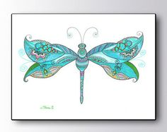 Blue Dragonfly Drawing, Zentangle Paisley Drawing, Large GicleePRINT, Christmas gift idea, Dragonfly painting, Boho Nursery wall art decor