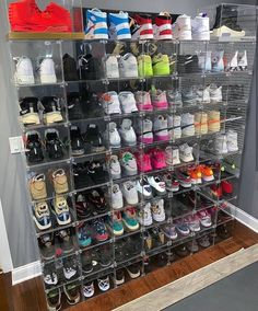 storage sneakerhead room Behind The Scenes By dailystreetwearinspiration Aesthetic Shoes, Aesthetic Room Decor, Shoe Room, Shoe Closet, Shoe Box Storage, Storage Ideas, Hypebeast Room, Sneaker Storage, Jordan Shoes Girls