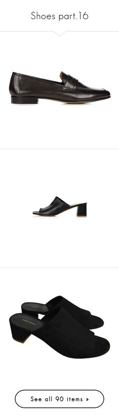 """""""Shoes part.16"""" by paolabw ❤ liked on Polyvore featuring shoes, loafers, flats, black, black loafer flats, leather loafers, black strappy shoes, strappy flats, black leather flats and black peep toe shoes"""
