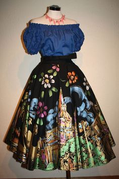 Puerto Vallarta Vacation - Early 50s 1952 Hand Painted Mexican Village Circle Skirt
