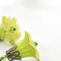 Lime Blossom  Lucite Flower Earrings by bstrung on Etsy, $15.00