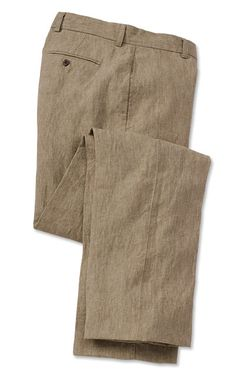 """Linen pants are an essential element of summer. Lightweight and breathable, they offer refined looks without sacrificing comfort. Our linen pants are classically styled with a button-through front closure, side-seam pockets, and set-in rear pockets (button-through on the right side). In light brown. Pure linen. Dry clean. Imported. <br />Even waist sizes: 32-42. Cuffed up to 34"""" or plain finished up to 35"""" at no extra charge."""