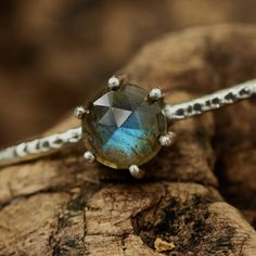 Beautiful round labradorite in silver bezel and prongs setting with oxidized texture sterling silver bracelet bangle/TP