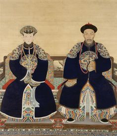 This Qing dynasty portrait shows Yinti, Prince Xun (1688-1755), as an old man. The cataract on his right eye, crows' feet around his eyes, and sunken cheeks all hint at harsh aging. Yinti's wife appears strikingly more idealized. If this painting had been intended as a ritual portrait, a greater attempt at realism might have been made. Instead, it was likely created to celebrate a life event, perhaps an anniversary.