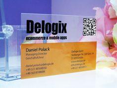 Visitenkarten - transparent - kristallklar - PVC - Plastik - QR - code - farbig - durchscheinend - www.bce-online.com/de