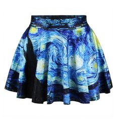 Blue Starry Night Printed High-Waisted Pleated Skirt for Women  women skirts
