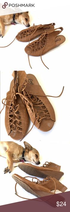 """New Candie""""s lace up sandals New Candie""""s lace up sandals are like new never been worn.... Candie's Shoes Sandals"""