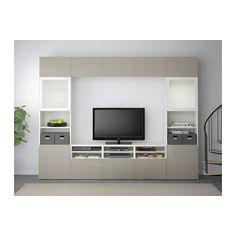 BESTÅ Combinazione TV/ante a vetro - guida cassetto/chiusura silenziosa, bianco/Selsviken lucido/vetro smerigliato beige - IKEA