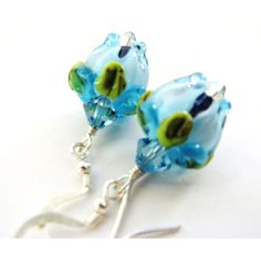 20% OFF SALE Blue Rosebud Earrings, Artisan Crafted Lampwork Glass... ($23) ❤ liked on Polyvore featuring jewelry, earrings, swarovski crystal earrings, sterling silver jewelry, blue earrings, glass jewelry and rose jewelry