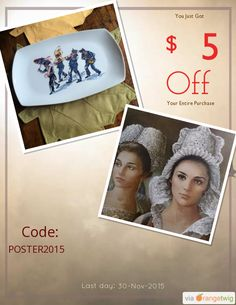 We are happy to announce $5.00 OFF our Entire Store. Coupon Code: POSTER2015 Min Purchase: 20.00 Expiry: 30-Nov-2015 Click here to view all products:  Click here to avail coupon: https://orangetwig.com/shops/AABsu3Z/campaigns/AABsuNF?cb=2015011&sn=SuzanneOrmondPottery&ch=pin&crid=AABsuNI