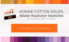Kona® Cotton Illustrator Swatches .ASE Download for Designing in Illustrator or Photoshop at pileofabric.com