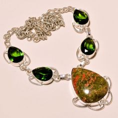 "GREEN UNAKITE WITH PERIDOT TOPAZ .925 SILVER NECKLACE 18"" N10 #Handmade #Charm"