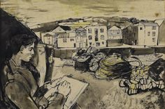 'Sketching in Cornwall' by John Minton, 1948 (wash, pastel,pen and ink) New Artists, British Artists, John Minton, Collage Illustration, Royal College Of Art, Art For Art Sake, Source Of Inspiration, Cool Art, Vintage World Maps