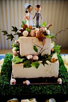 wood grain cake, square, love the foliage and flowers