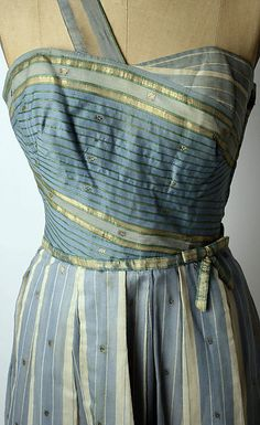 Cotton evening dress with metallic-thread by Mainbocher, American, 1950's.