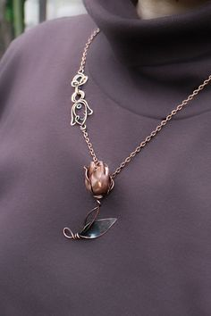 Copper tulip Handmade pendant necklace by AnnTitovaDesign