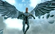 It's a bird, it's a plane, it's an... angel: In the comics, Angel (alias Warren Worthington III, played by Ben Hardy in the film) was one of the founding members of the X-Men. His fluffy white wings gave him quite the cherubic appearance, until Apocalypse transformed him into a blue-skinned, mechanized engine of death. It's that version of the character (Archangel, one of Apocalypse's Four Horsemen) that we'll be seeing in this movie, complete with weaponized wings. #XMenApocalypse