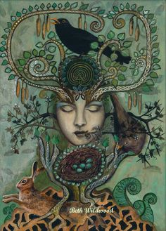 The Lady of the Greening Giclee print by WildSpiritWeaver (Beth Wildwood) on Etsy