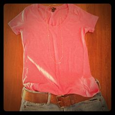 {50% OFF if Bundled} Pink Tee Another great basic.  A comfy pink tee!  Great for layering or even dressing it up with a statement necklace! Forever 21 Tops