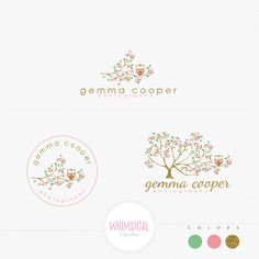 whimsical spring tree with owl Premade Photography Logo and Watermark, Classic Elegant Script GOLD GLITTER TREE children Calligraphy Logo