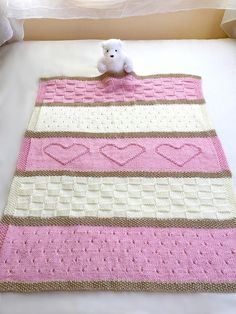 Knit Baby Blanket Pattern, Heart Baby Blanket Pattern, Easy Knitting Pattern by Deborah O& Baby blanket knitting pattern. This adorable baby blanket pattern is easy to knit with simple, basic stitches. Easy Knit Baby Blanket, Baby Blanket Size, Knitted Baby Blankets, Crib Blanket, Kids Blankets, Easy Knitting Patterns, Baby Patterns, Knitting Projects, Blanket Patterns