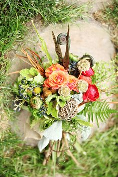 Amazingly textural woodland themed bouquet. wow. @Bridget Adams