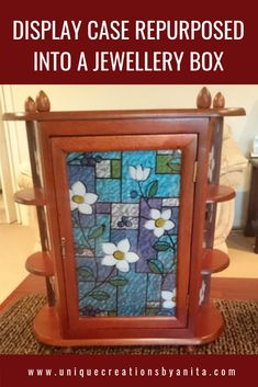 Vintage display cabinet repurposed into a jewellery box that can be hung on a wall or sat on a table. Most people will not even know it is a jewellery box. Diy Furniture Projects, Diy Craft Projects, Craft Tutorials, Diy Crafts, Project Ideas, Jewellery Storage, Jewellery Display, Jewellery Box, Jewelry