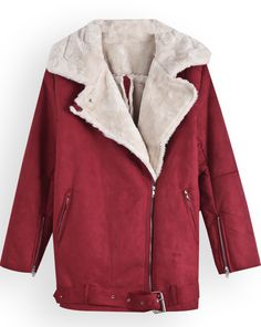 Red Lapel Long Sleeve Zipper Cuff Coat zł143.45