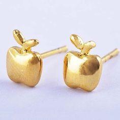 9k Yellow Gold Filled Apple Shape Hypo-Allergenic Pierced Earrings Studs #Stud