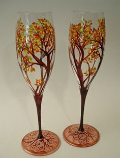 Champagne Flutes Hand Painted Autumn Trees - Set of 2. $40.00, via Etsy. Really like this ine too!