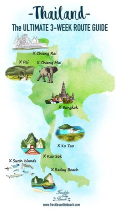 A great Illustration and Infographic of the map of Thailand. Showing drawing art of the best places to visit in Thailand while traveling. Thailand Map - illustration - art - infographic - design - drawing Top 10 Places To Visit. Phuket Travel Guide, Thailand Travel Tips, Visit Thailand, Thailand Vacation, Bangkok Thailand, Krabi Thailand, Thailand Destinations, Pattaya Thailand, Chiang Mai Thailand