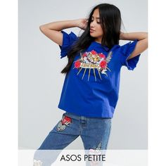 ASOS PETITE T-Shirt with Ruffle Sleeve And Mix and Match Motif (37 CAD) ❤ liked on Polyvore featuring tops, t-shirts, blue, petite, blue tee, asos t shirts, short t shirt, jersey t shirt and crew neck tee