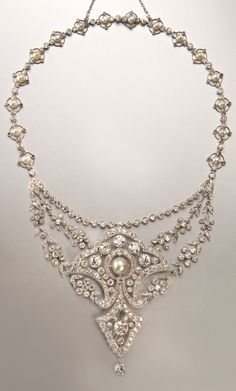 A Belle Epoque platinum, diamond and natural pearl necklace, French, early 20th century. With French assay mark. #BelleÉpoque