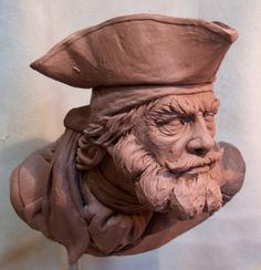 Pirate sculpt, Preston Palmer on ArtStation at… Human Sculpture, Sculpture Clay, Digital Sculpting, Modelos 3d, Maquillage Halloween, 3d Prints, Bone Carving, Drawing Poses, Art Reference