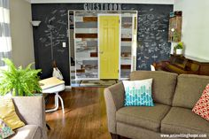 This idea is so going into our guest room!  Chalkboard Wall with a Twist - Lovely Etc.