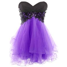 Medon's Sweetheart Tulle and Applique Short Prom Dress (77 CAD) ❤ liked on Polyvore