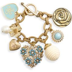 Juicy Couture Heart & Flower Charm Bracelet Turquoise