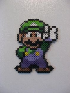 Luigi Perler Bead Magnet - Nintendo via Etsy