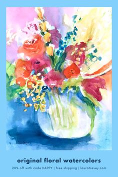 Loose and colorful watercolor paintings for sale with free shipping!