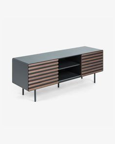 Mahon Tv cabinet width with graphite matt lacquered MDF structure. Front with two sliding doors in walnut veneer and metal legs. Contemporary Interior Design, Modern Design, Tv Moderna, Industrial Tv Unit, Tv Entertainment Units, Walnut Veneer, Coffee Table With Storage, Tv Cabinets, Home Decor Accessories