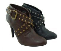 Women's Pu Leather High Heel Ankle Studded Boots Shoes (8, Brown Chloe 1)
