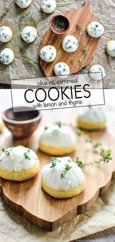 Cornmeal Olive Oil Cookies with Lemon and Thyme: a summery and simple, yet delicious moist and flavorful cookie! | www.cookingandbeer.com