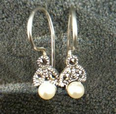 Vintage Solid 925 Sterling Silver  Faux Pearl Marcasite Designer CW Earrings #CW #DropDangle