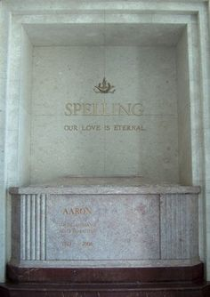 Grave Marker- Aaron Spelling, American television producer. On June 18, 2006, Spelling suffered a severe stroke at The Manor, his estate in Holmby Hills, Los Angeles, California. He died at his estate on June 23, from complications of the stroke.  A private funeral was held several days later, and Spelling was entombed in a mausoleum in Culver City's Hillside Memorial Park Cemetery.