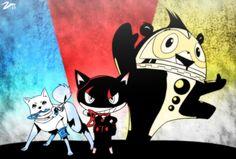 The three Persona mascots Story Characters, Anime Characters, Video Game Art, Video Games, Persona Crossover, Atlus Games, Persona 3 Portable, Shin Megami Tensei Persona, Some Jokes