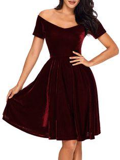 151f4cc8e3 Vintage Off Shoulder Plain Velvet Skater  Dress  fashion 15 Dresses